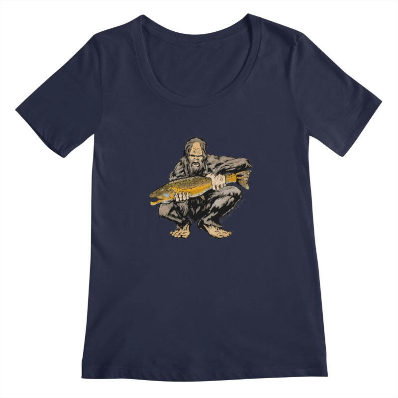 Sasquatch with Brown Trout Women's Scoopneck by Boneyard Studio - Boneyard Fly Gear