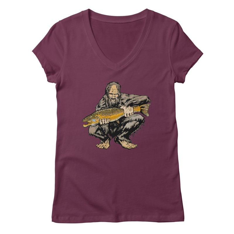 Sasquatch with Brown Trout Women's Regular V-Neck by Boneyard Studio - Boneyard Fly Gear