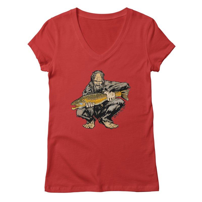 Sasquatch with Brown Trout Women's V-Neck by Boneyard Studio - Boneyard Fly Gear