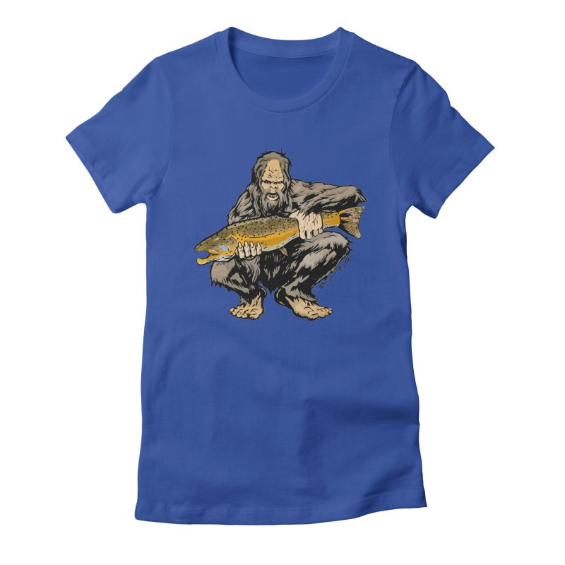 Sasquatch with Brown Trout Women's Fitted T-Shirt by Boneyard Studio - Boneyard Fly Gear