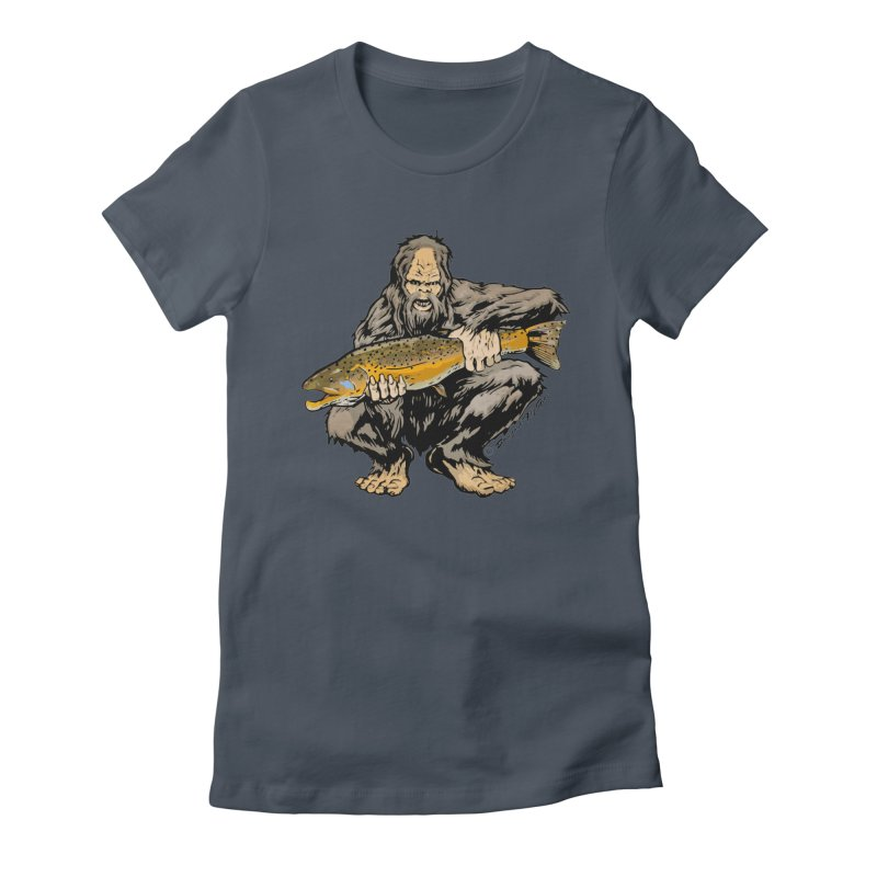 Sasquatch with Brown Trout Women's T-Shirt by Boneyard Studio - Boneyard Fly Gear