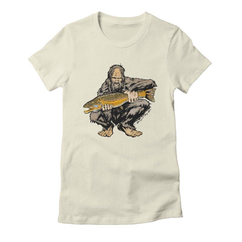 Sasquatch with Brown Trout Women's Fitted T-Shirt by Boneyard Studio - Boneyard Fly Gear