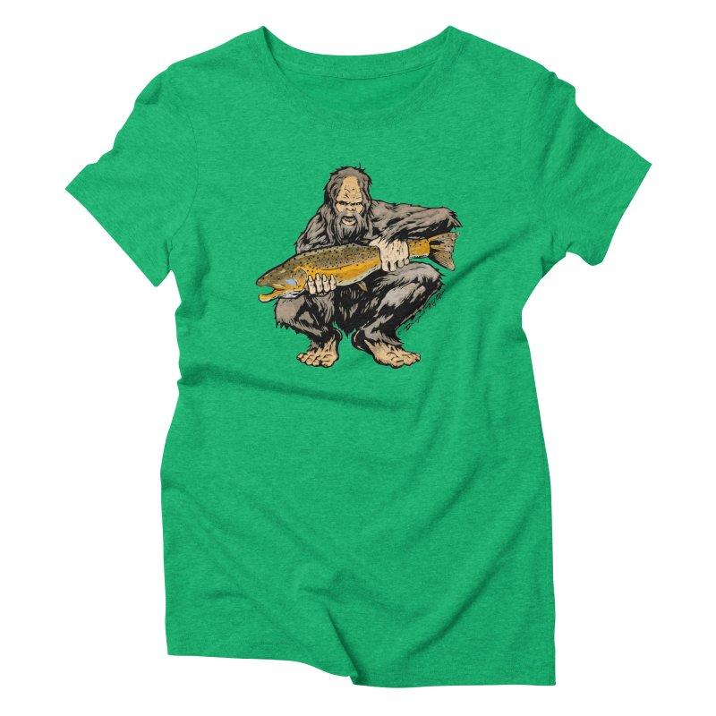 Sasquatch with Brown Trout Women's Triblend T-Shirt by Boneyard Studio - Boneyard Fly Gear