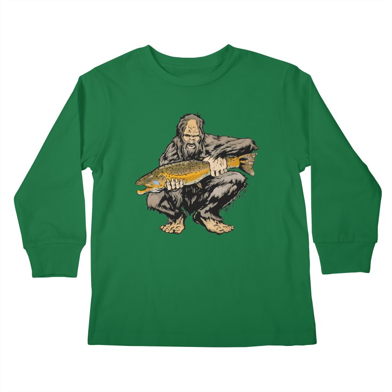 Sasquatch with Brown Trout Kids Longsleeve T-Shirt by Boneyard Studio - Boneyard Fly Gear