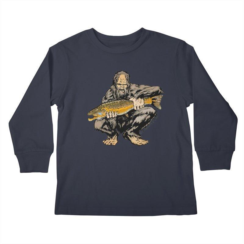 Sasquatch with Brown Trout Kids Longsleeve T-Shirt by Boneyard Studio - Boneyard Fly Gear