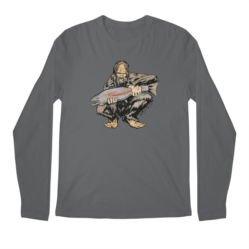 Sasquatch with Steelhead Men's Longsleeve T-Shirt by Boneyard Studio - Boneyard Fly Gear