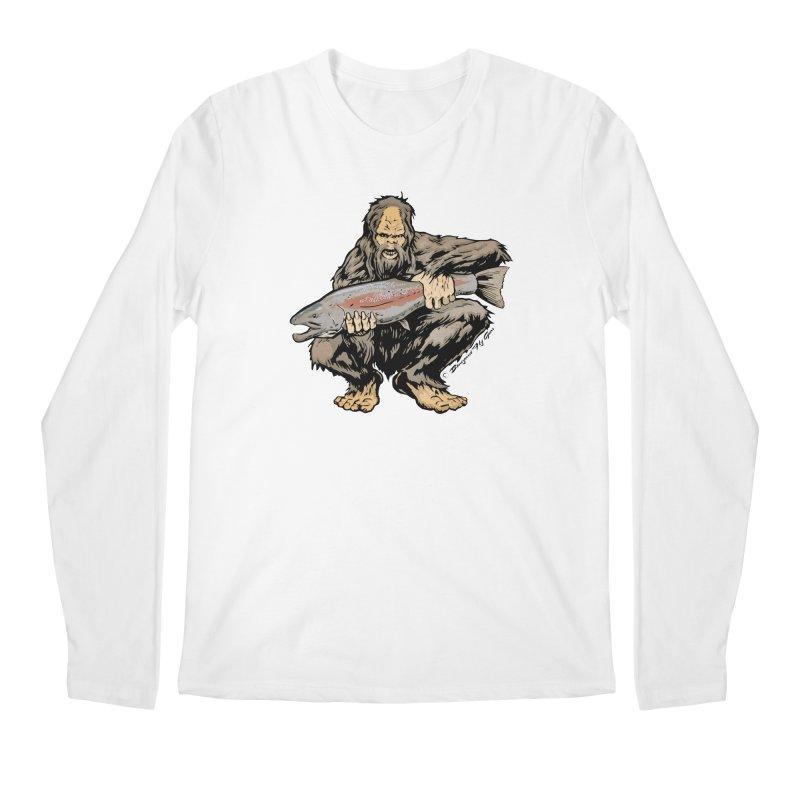 Sasquatch with Steelhead Men's Longsleeve T-Shirt by Boneyard Studio - Boneyard Fly Gear