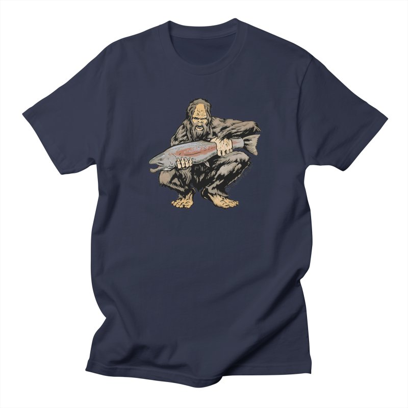 Sasquatch with Steelhead Men's T-Shirt by Boneyard Studio - Boneyard Fly Gear