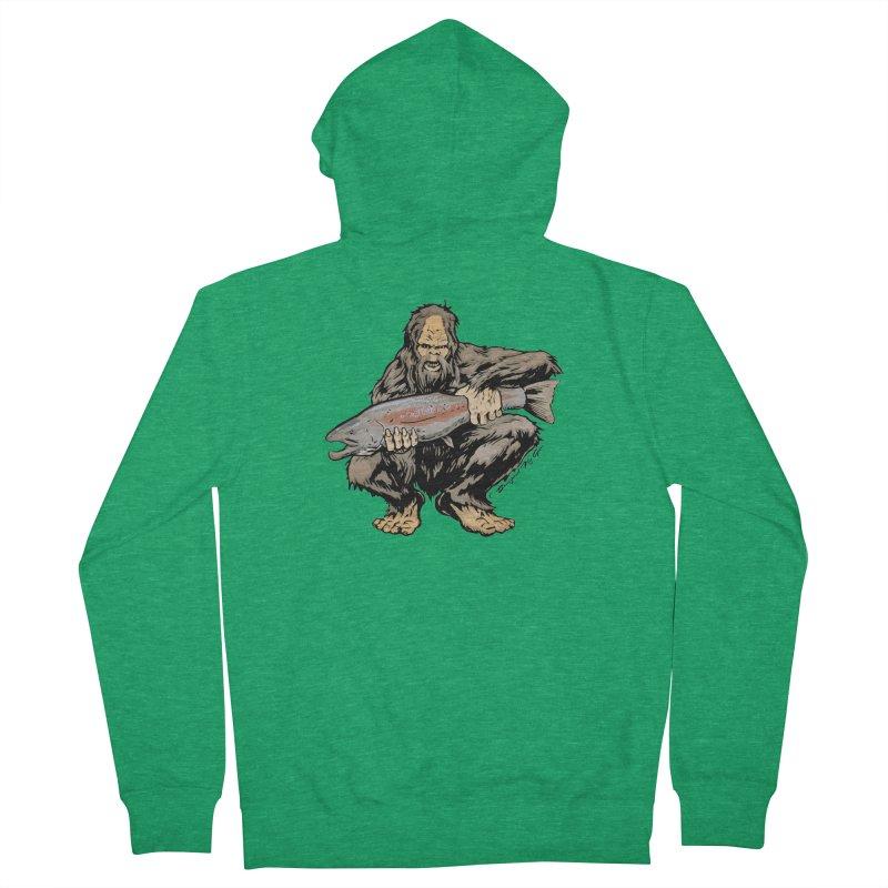 Sasquatch with Steelhead Men's Zip-Up Hoody by Boneyard Studio - Boneyard Fly Gear