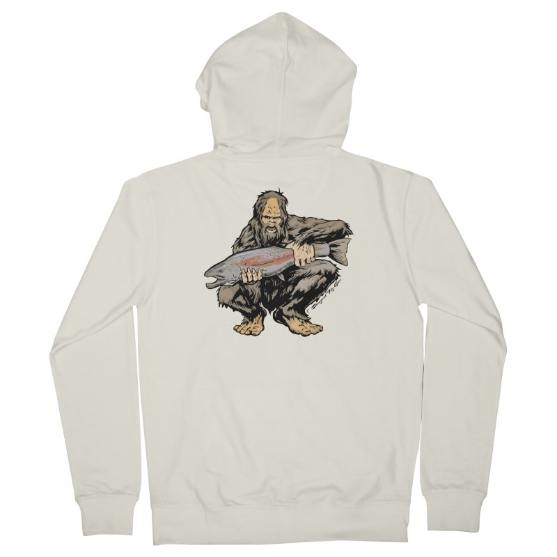 Sasquatch with Steelhead Men's Zip-Up Hoody by Boneyard Studio - Boneyard Fly Gear