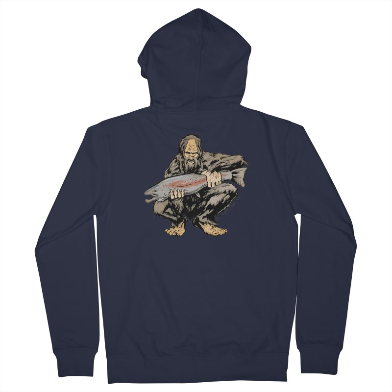 Sasquatch with Steelhead Men's French Terry Zip-Up Hoody by Boneyard Studio - Boneyard Fly Gear