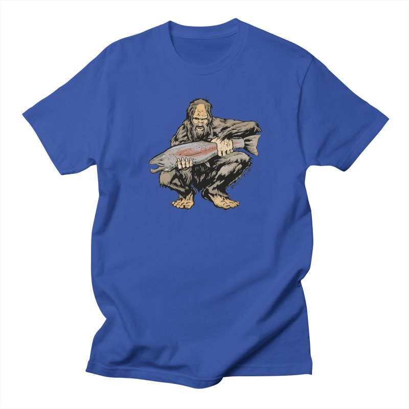 Sasquatch with Steelhead Men's T-Shirt by Boneyard Studio - Boneyard Fly Gear