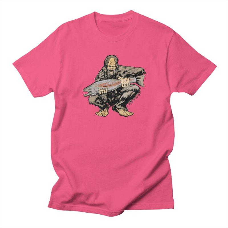 Sasquatch with Steelhead Women's Regular Unisex T-Shirt by Boneyard Studio - Boneyard Fly Gear