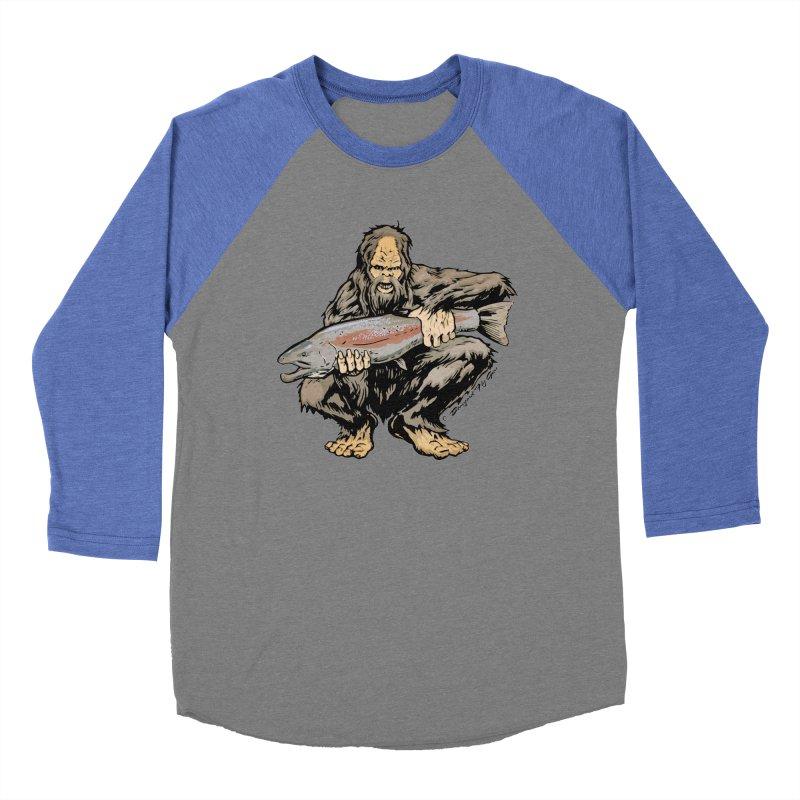 Sasquatch with Steelhead Women's Baseball Triblend Longsleeve T-Shirt by Boneyard Studio - Boneyard Fly Gear