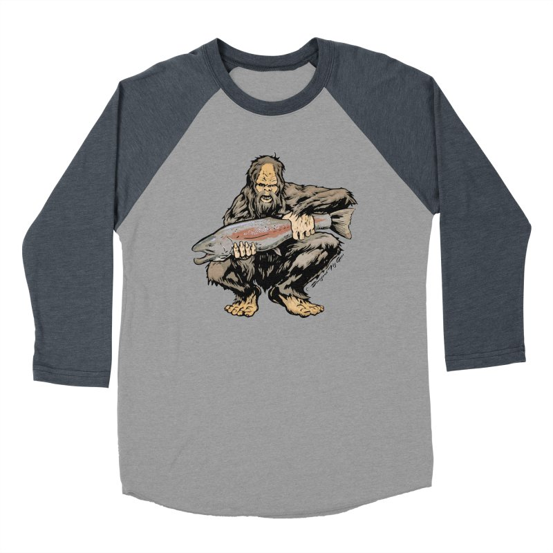 Sasquatch with Steelhead Women's Baseball Triblend T-Shirt by Boneyard Studio - Boneyard Fly Gear