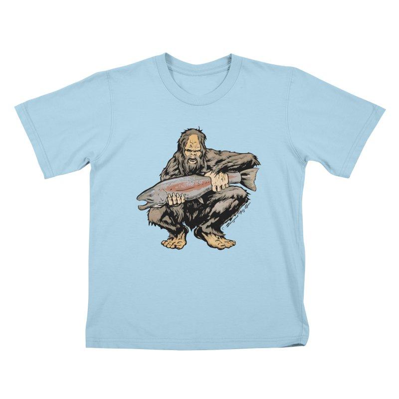 Sasquatch with Steelhead Kids T-Shirt by Boneyard Studio - Boneyard Fly Gear
