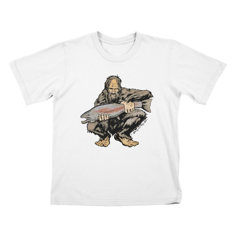 Sasquatch with Steelhead Kids T-Shirt by Boneyard Studio - Boneyard Fly Gear