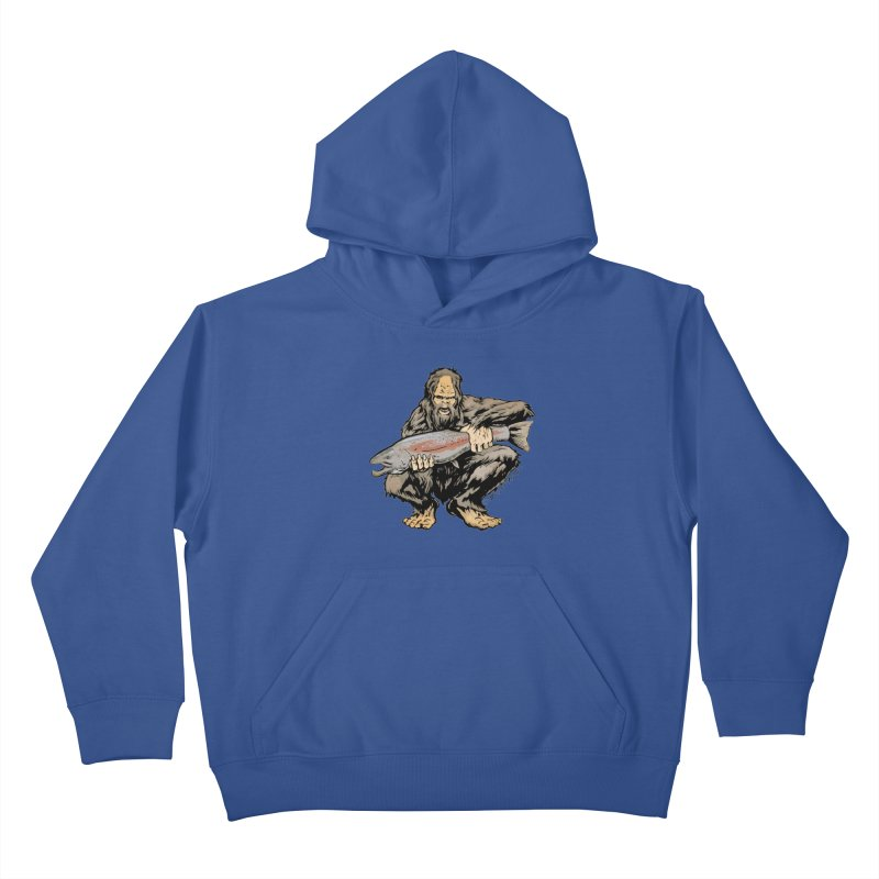 Sasquatch with Steelhead Kids Pullover Hoody by Boneyard Studio - Boneyard Fly Gear
