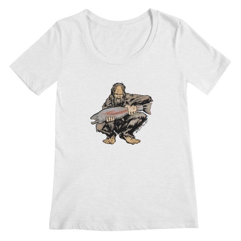 Sasquatch with Steelhead Women's Regular Scoop Neck by Boneyard Studio - Boneyard Fly Gear