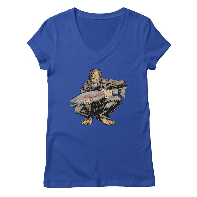 Sasquatch with Steelhead Women's V-Neck by Boneyard Studio - Boneyard Fly Gear