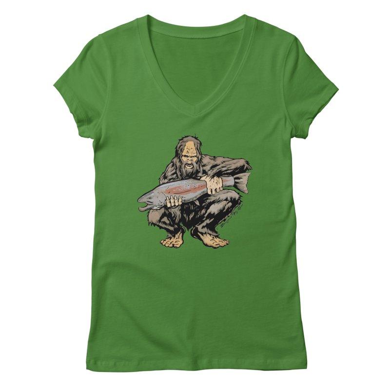 Sasquatch with Steelhead Women's Regular V-Neck by Boneyard Studio - Boneyard Fly Gear