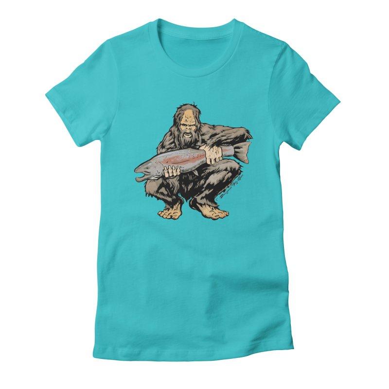 Sasquatch with Steelhead Women's Fitted T-Shirt by Boneyard Studio - Boneyard Fly Gear