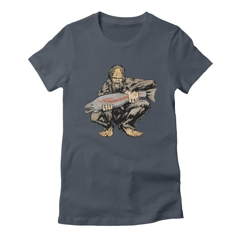 Sasquatch with Steelhead Women's T-Shirt by Boneyard Studio - Boneyard Fly Gear