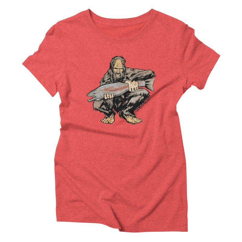 Sasquatch with Steelhead Women's Triblend T-Shirt by Boneyard Studio - Boneyard Fly Gear