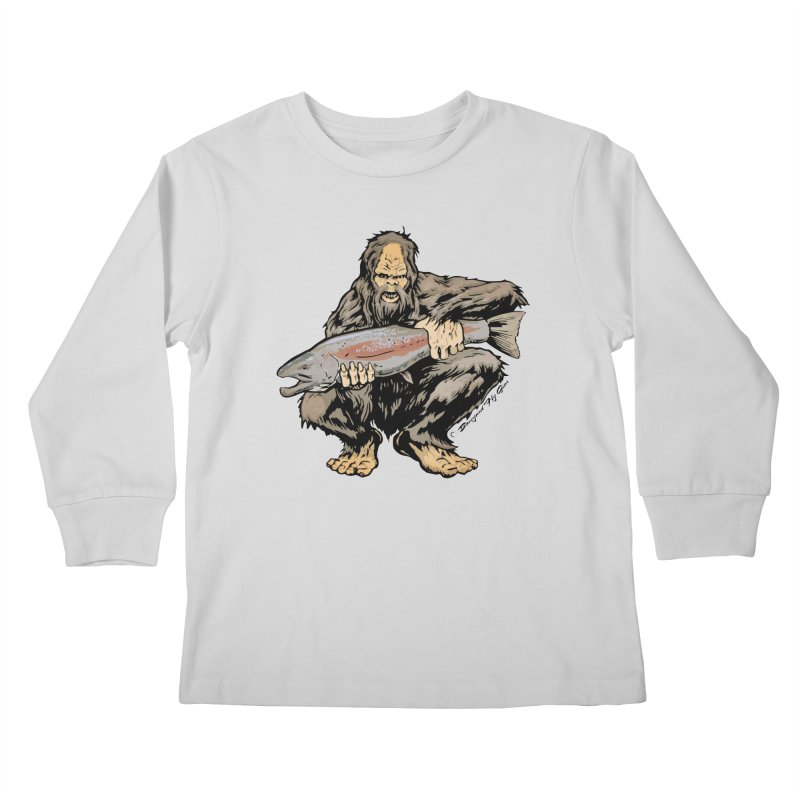 Sasquatch with Steelhead Kids Longsleeve T-Shirt by Boneyard Studio - Boneyard Fly Gear
