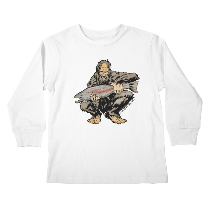 Sasquatch with Steelhead Kids Longsleeve T-Shirt by Boneyard Studio - Boneyard Fly Gear