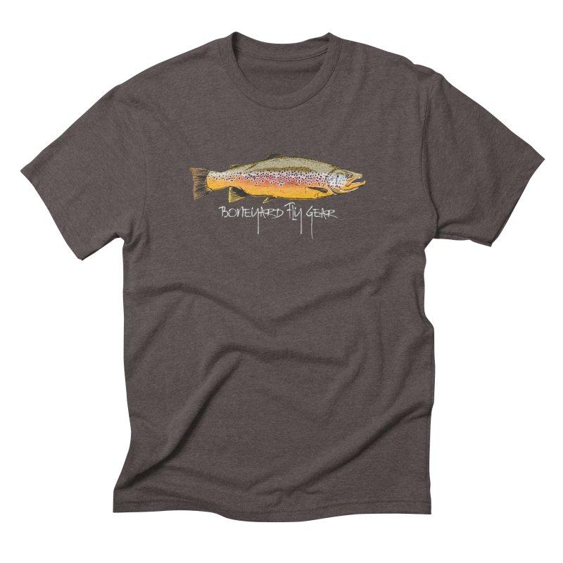 BYFG Brown Trout in Men's Triblend T-Shirt Tri-Coffee by Boneyard Studio - Boneyard Fly Gear