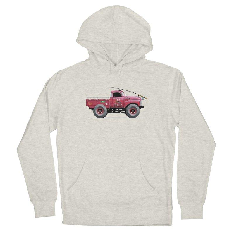 Red Truck Spey in Men's French Terry Pullover Hoody Heather Oatmeal by Boneyard Studio - Boneyard Fly Gear