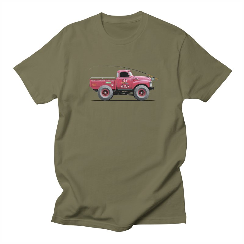 Red Truck Spey in Men's T-Shirt Olive by Boneyard Studio - Boneyard Fly Gear