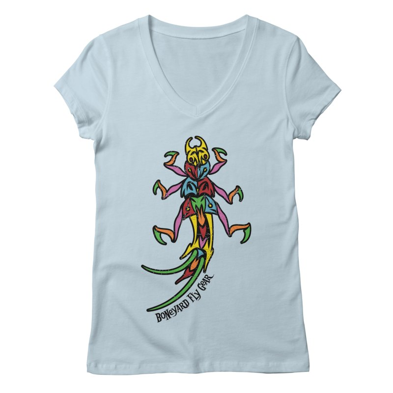 BYFG Stonefly - PoP ArT in Women's V-Neck Baby Blue by Boneyard Studio - Boneyard Fly Gear