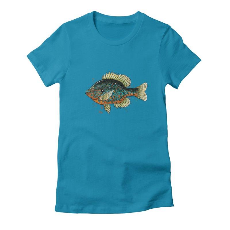 Pumpkinseed Women's Fitted T-Shirt by Boneyard Studio - Boneyard Fly Gear