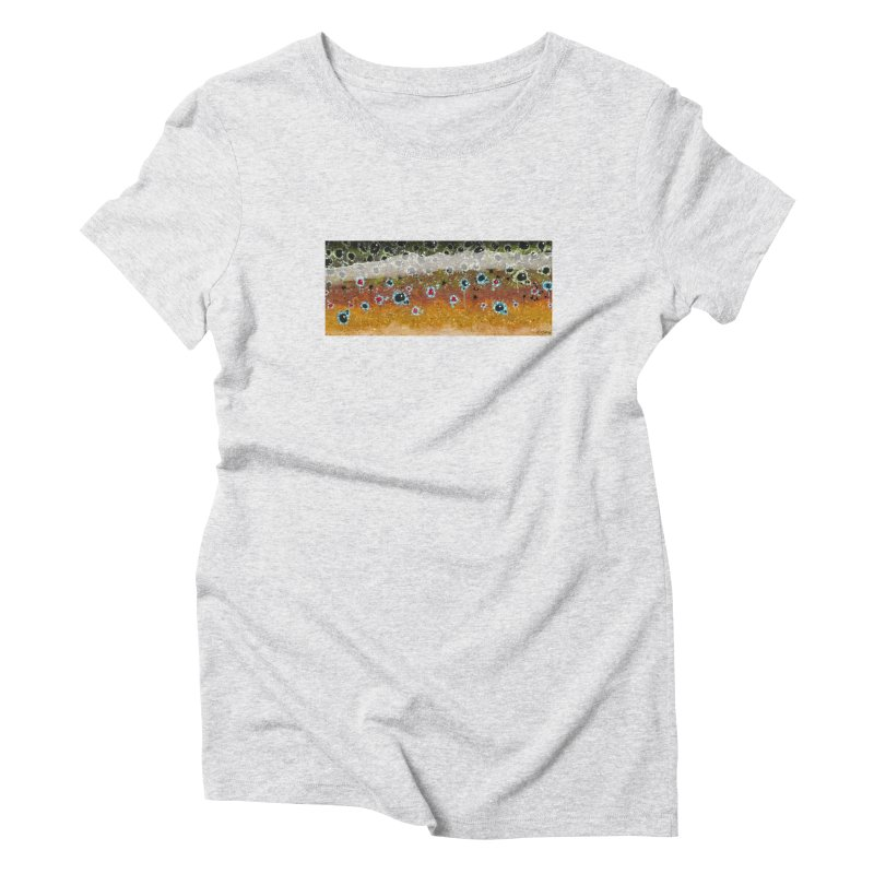 Morning Brown Trout in Women's Triblend T-Shirt Heather White by Boneyard Studio - Boneyard Fly Gear