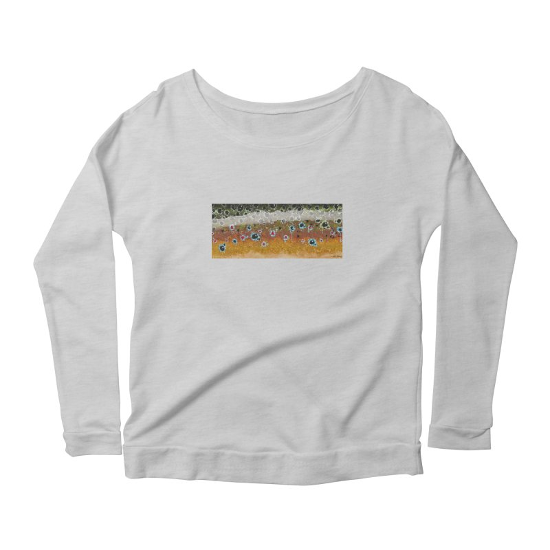 Morning Brown Trout Women's Scoop Neck Longsleeve T-Shirt by Boneyard Studio - Boneyard Fly Gear