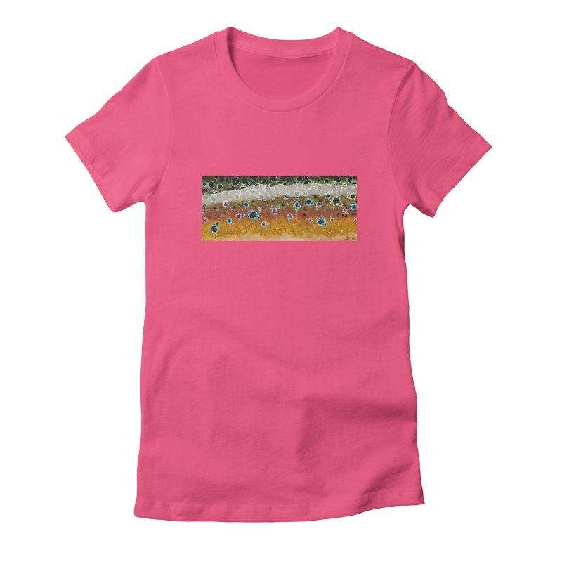 Morning Brown Trout Women's Fitted T-Shirt by Boneyard Studio - Boneyard Fly Gear