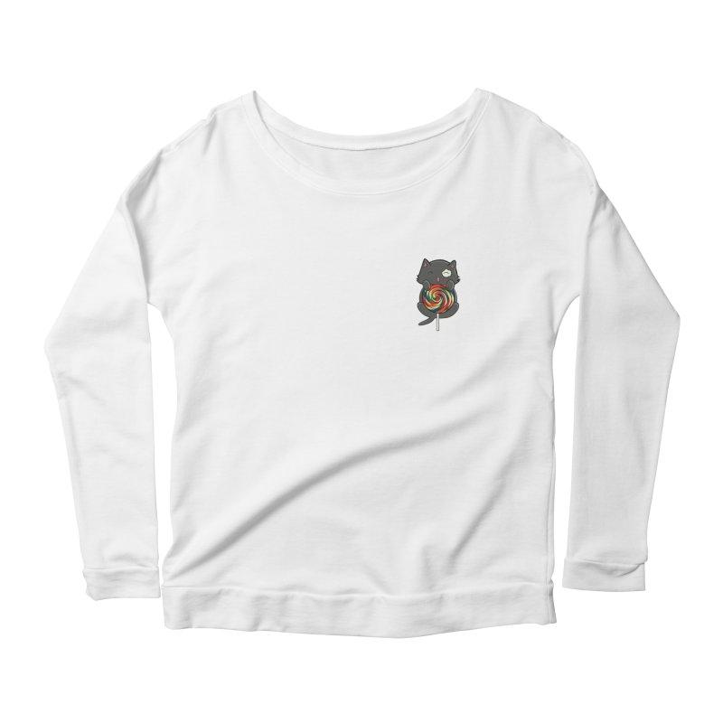 Alexa's Lollipop Cat Women's Scoop Neck Longsleeve T-Shirt by Boneyard Studio - Boneyard Fly Gear