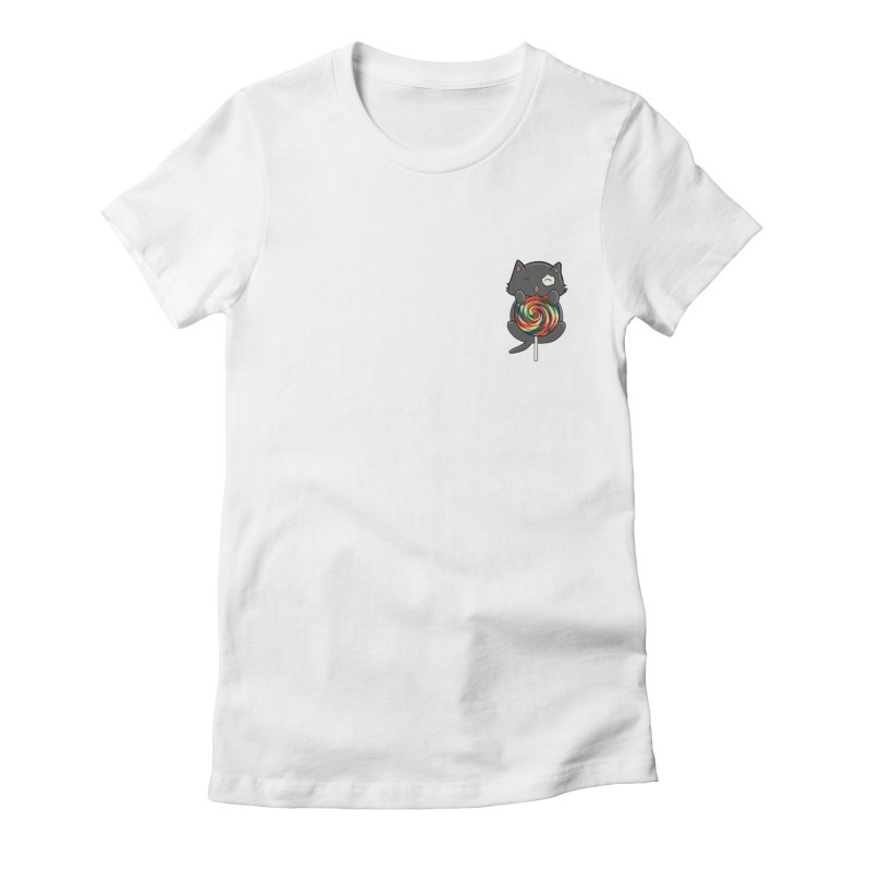Alexa's Lollipop Cat Women's Fitted T-Shirt by Boneyard Studio - Boneyard Fly Gear