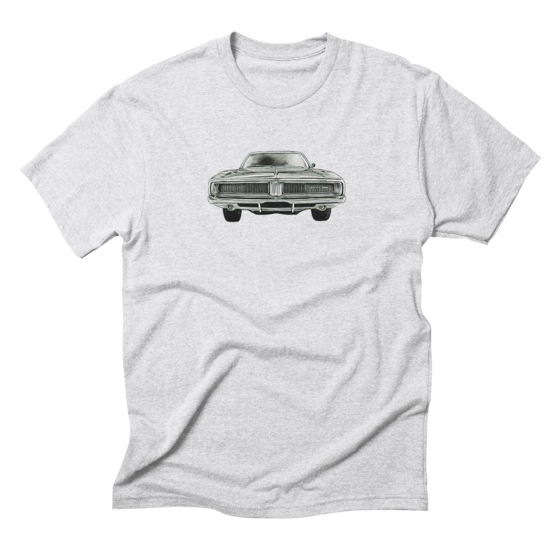 69 Charger sketch in Men's Triblend T-Shirt Heather White by Boneyard Studio - Boneyard Fly Gear
