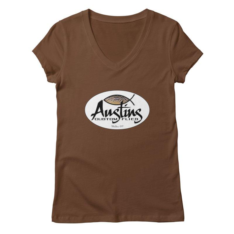 Austins Custom Flies Women's Regular V-Neck by Boneyard Studio - Boneyard Fly Gear