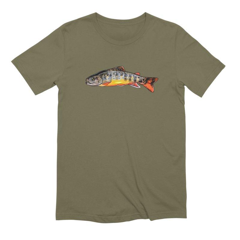 Baby brook in Men's Extra Soft T-Shirt Olive by Boneyard Studio - Boneyard Fly Gear