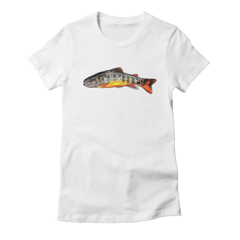 Baby brook Women's Fitted T-Shirt by Boneyard Studio - Boneyard Fly Gear