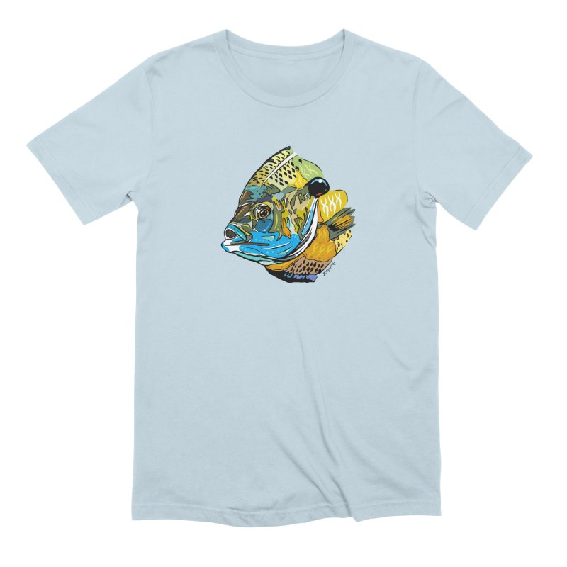 Bluegill F1 in Men's Extra Soft T-Shirt Baby Blue by Boneyard Studio - Boneyard Fly Gear