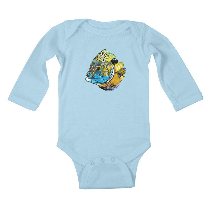 Bluegill F1 Kids Baby Longsleeve Bodysuit by Boneyard Studio - Boneyard Fly Gear