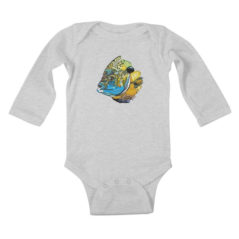 Bluegill F1 Kids Baby Longsleeve Bodysuit by Boneyard Studio - Boneyard Fly Gear