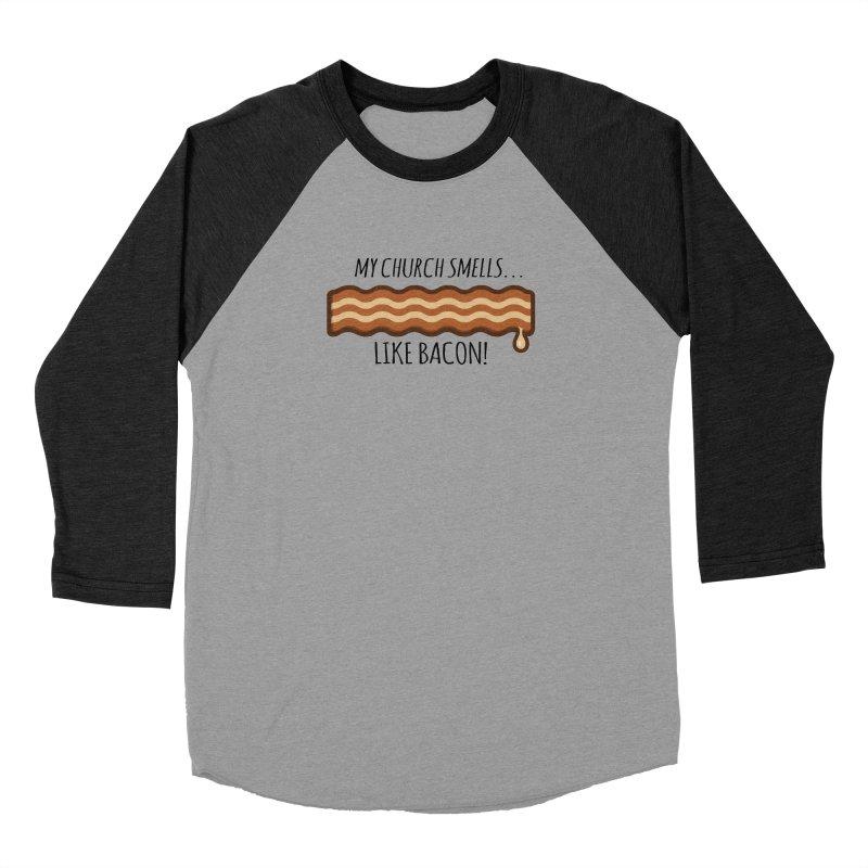 My Church Smells like Bacon! Women's Baseball Triblend Longsleeve T-Shirt by Boneyard Studio - Boneyard Fly Gear