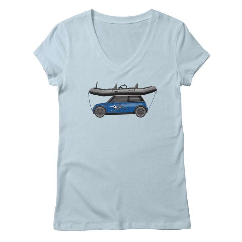 Mini Cooper Adventure Rig Women's V-Neck by Boneyard Studio - Boneyard Fly Gear