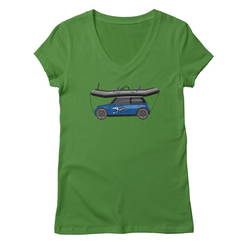 Mini Cooper Adventure Rig Women's Regular V-Neck by Boneyard Studio - Boneyard Fly Gear